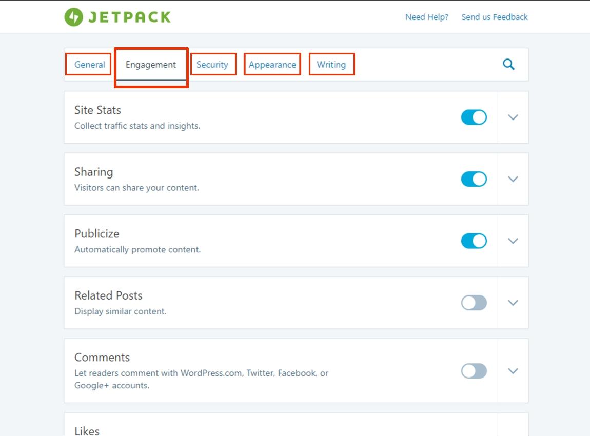 dashboard افزونه Jetpack