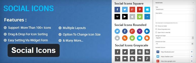 افزونه social icons وردپرس