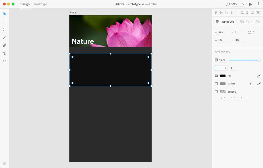 ایجاد پسزمینه برای متن در Adobe XD