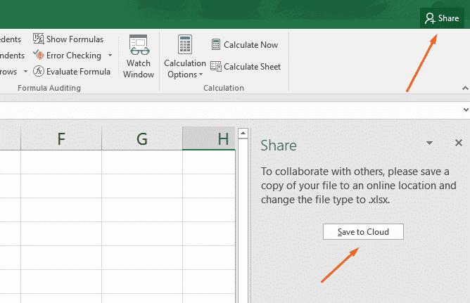 به اشتراک گذاری فایل Excel
