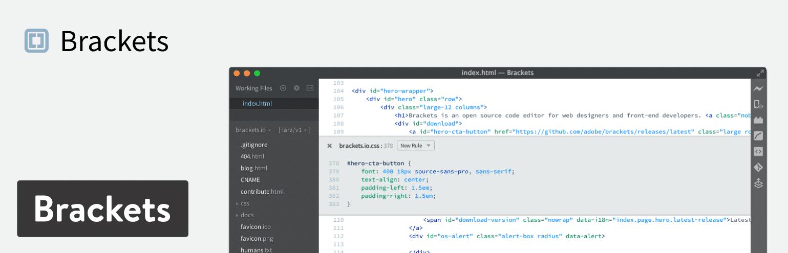 ویرایشگر کد - Brackets