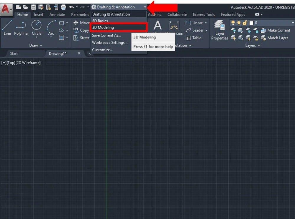 تغییر Drafting and Annotation به 3D Modeling
