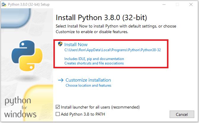 نصب پایتون 3.8