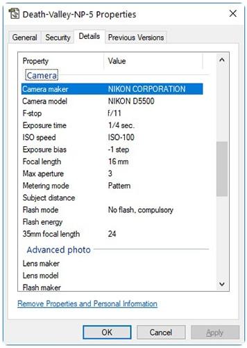 چگونگی مشاهده متادیتا metadata تصاویر