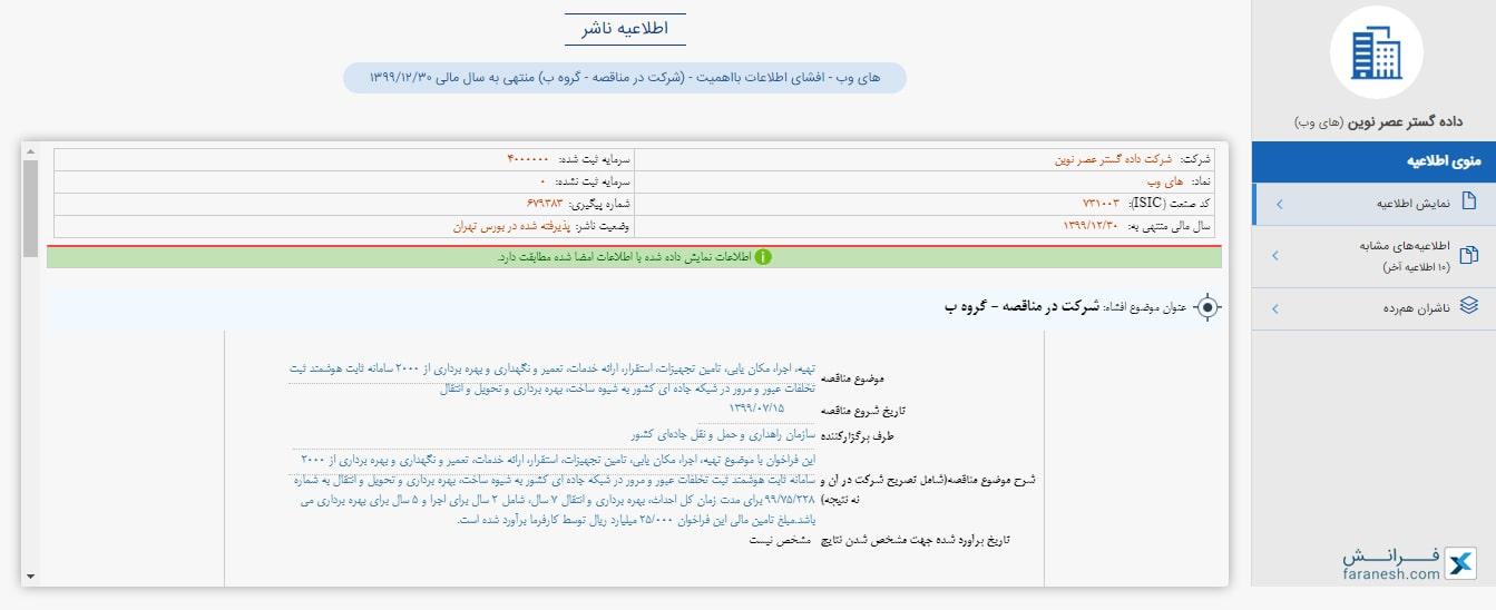 صفحه اطلاعیه های ناشران در کدال 360