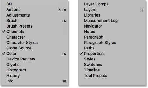 لیست تمام پنلهای فتوشاپ