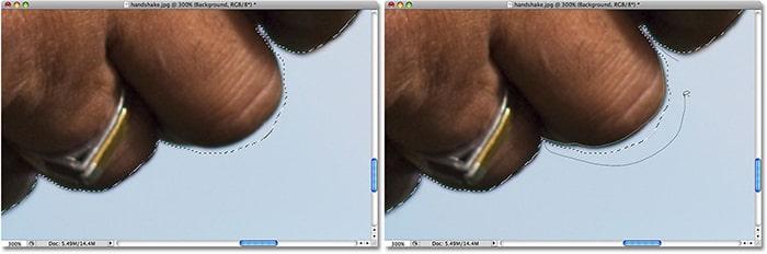 کار با ابزار Lasso برای حذف قسمت های اضافه